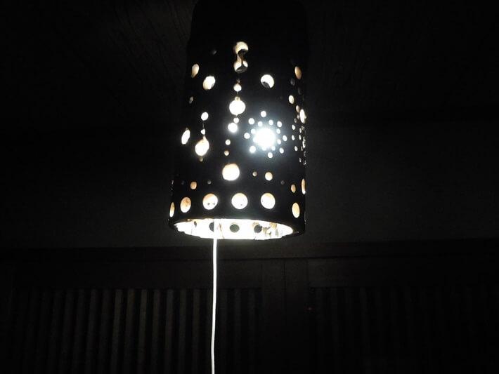 竹 ランプシェード 作り方 暗くしたとき