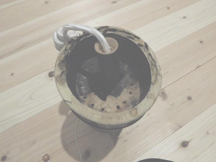 竹 ランプシェード 作り方 加工中